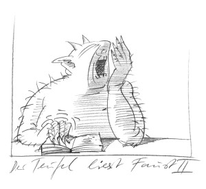Gernhardt_Der-Teufel-liest-Faust-II_1986_Frankfurt_Caricatura-Museum_RGB